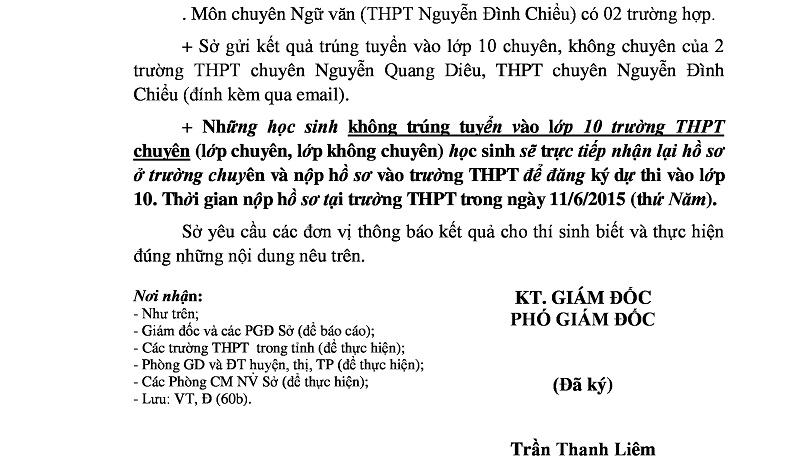 Điểm chuẩn vào lớp 10 Chuyên Nguyễn Quang Diêu Đồng Tháp 2015 - 2016