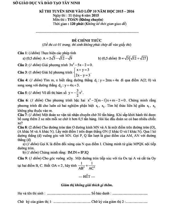 Đề thi vào lớp 10 THPT Tây Ninh môn Toán năm 2015 – 2016