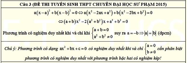 Đáp án câu 3 đề thi vào lớp 10 THPT Chuyên ĐHSP HN môn Toán năm 2015 - 2016