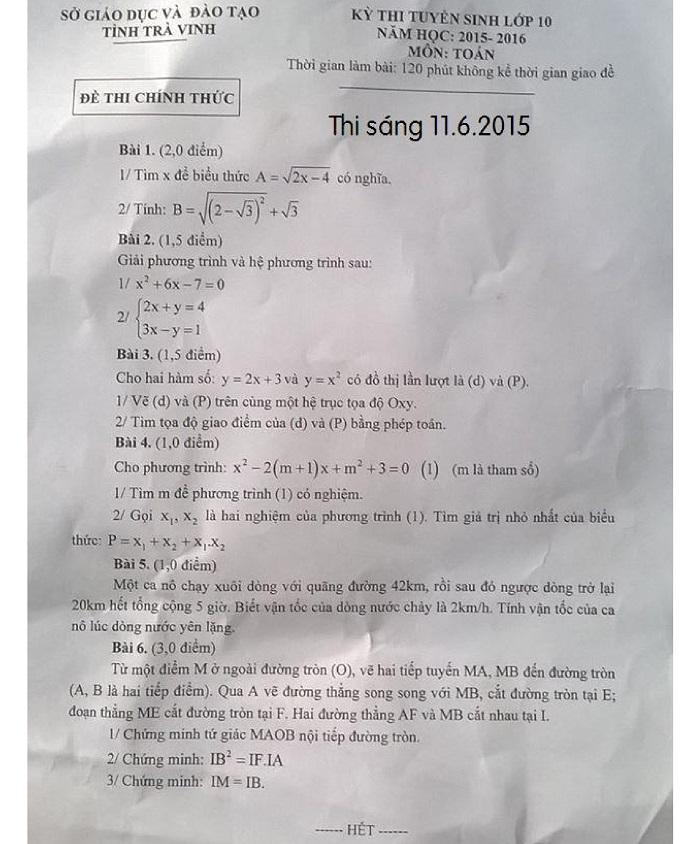 Đề thi vào lớp 10 THPT tỉnh Trà Vinh môn Toán năm 2015 -2016