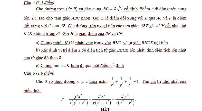 Đề thi vào lớp 10 Chuyên Hùng Vương - Phú Thọ môn Toán 2015 - 2016