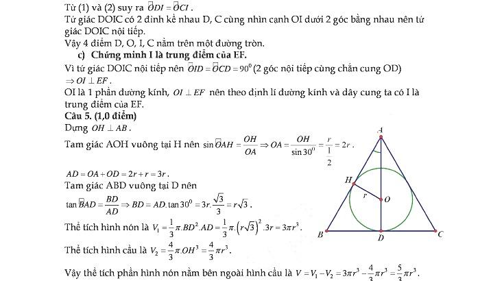 Đề thi và đáp án thi vào lớp 10 THPT môn Toán tỉnh Thừa Thiên Huế