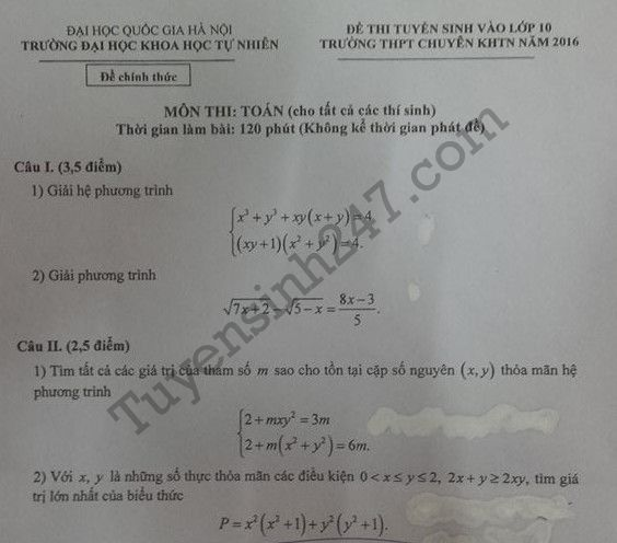 Đáp án đề thi vào lớp 10 môn Toán THPT chuyên KHTN 2016 vòng 1