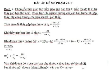 Đáp án thi vào lớp 10 môn Vật lý chuyên Sư Phạm Hà Nội 2016