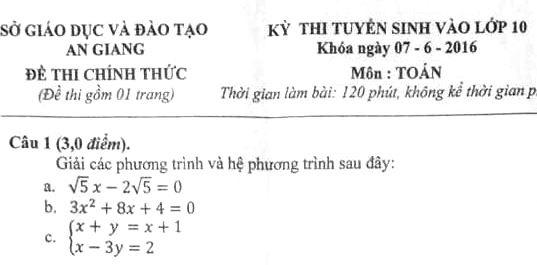 Đề thi vào lớp 10 môn Toán tỉnh An Giang năm 2016 - 2017 câu 1