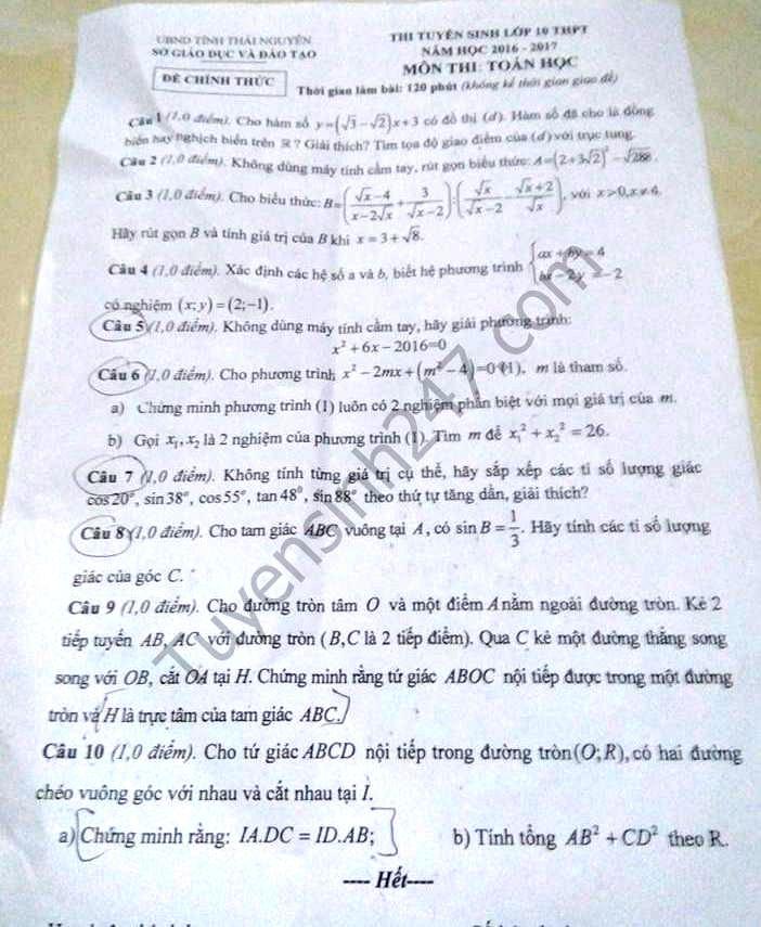 Đề thi vào lớp 10 môn Toán tỉnh Thái Nguyên năm 2016 - 2017