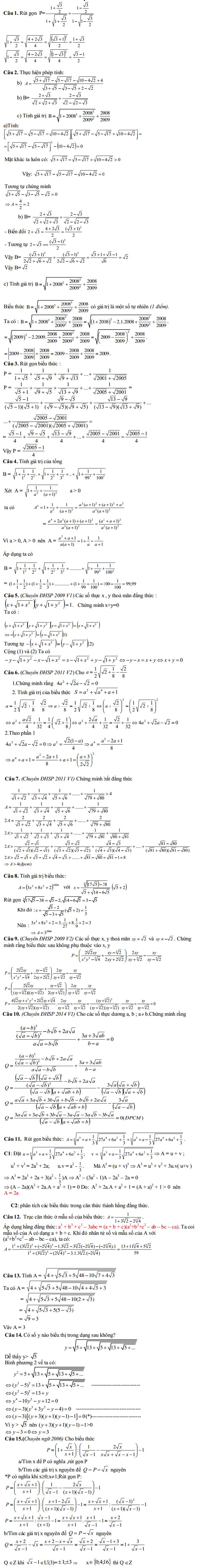 Dang toán thi vào lớp 10 chuyên: Rút gọn tính toán