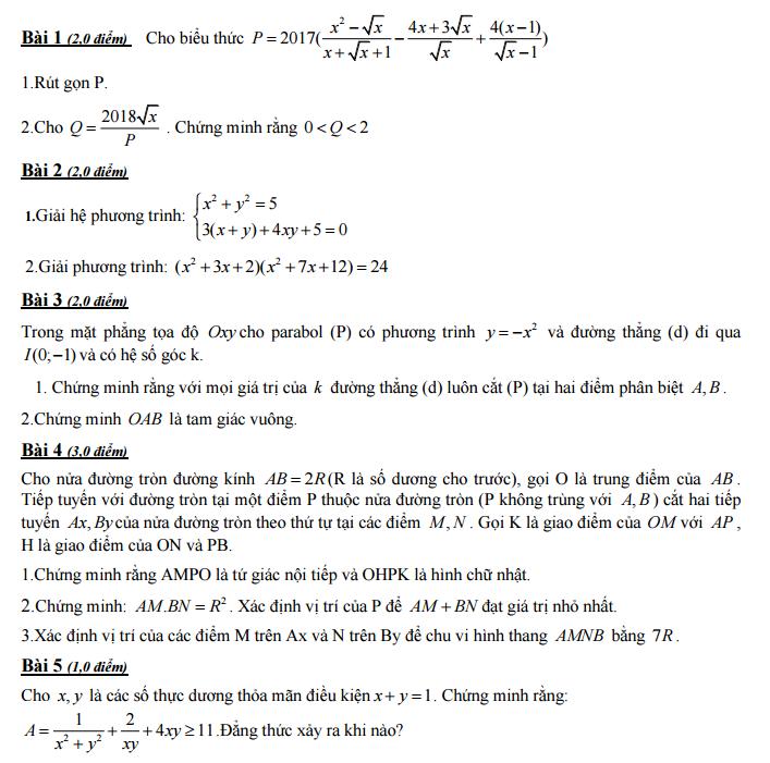 Đề thi thử toán vào lớp 10 chuyên Quảng Ngãi năm 2017