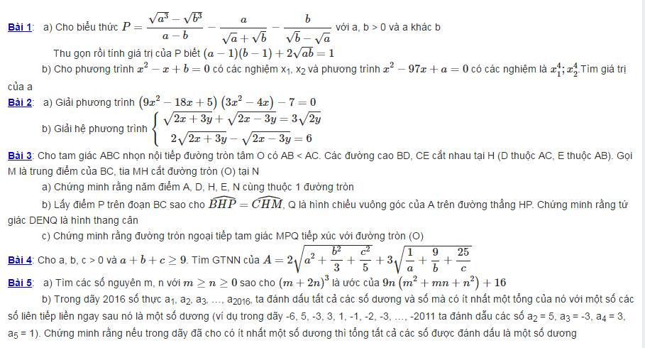 Đề thi vào lớp 10 môn toán chuyên THPT Năng khiếu Trần Phú 2016-2017