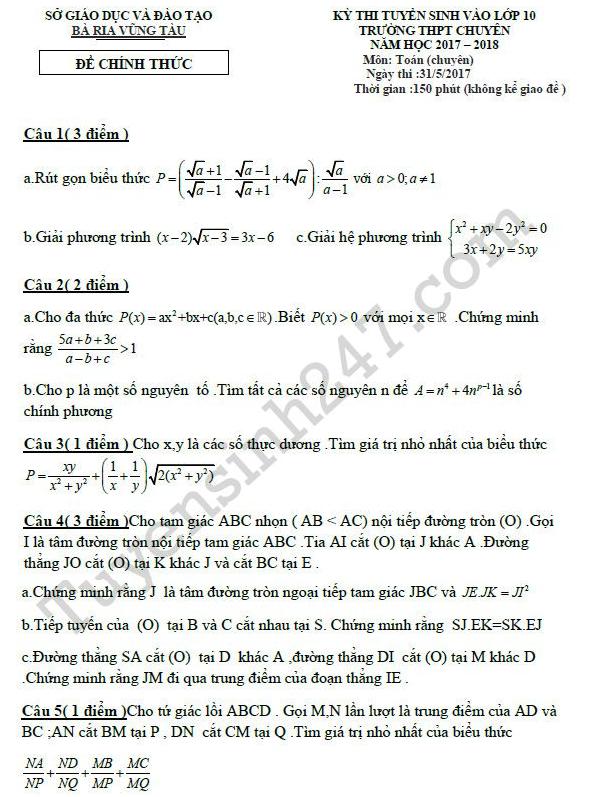 đề thi vào lớp 10 môn toán chuyên Bà Rịa- Vũng Tàu năm 2017