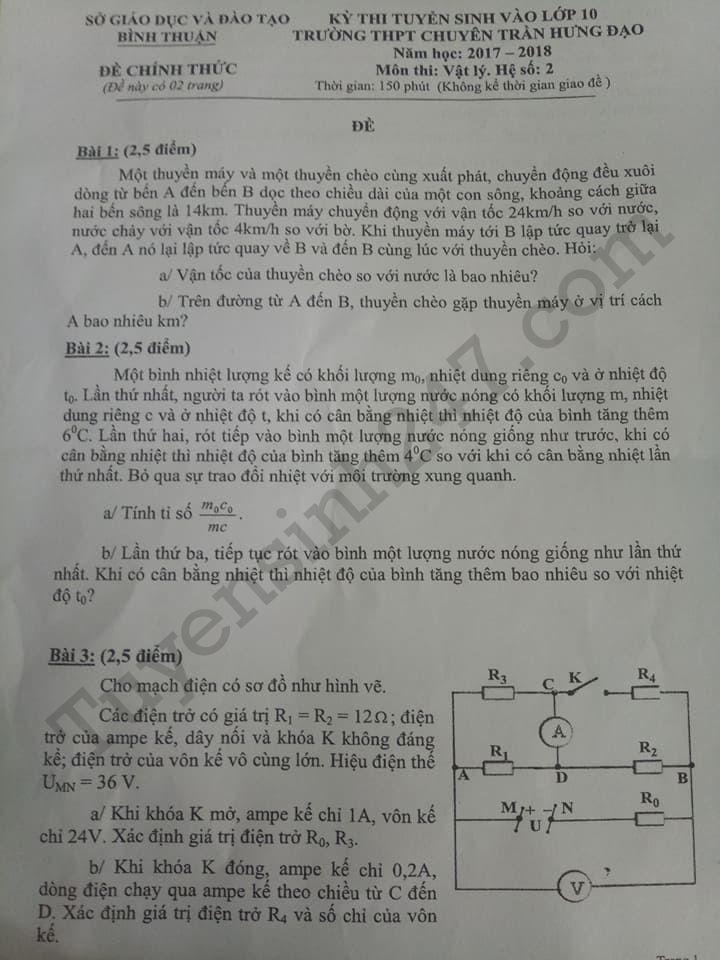 đề thi vào lớp 10 môn lý chuyên Trần Hưng Đạo-Bình Thuận 2017