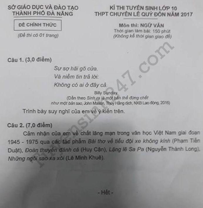 đề thi vào lớp 10 môn Văn chuyên Lê Quý Đôn - Đà Nẵng năm 2017