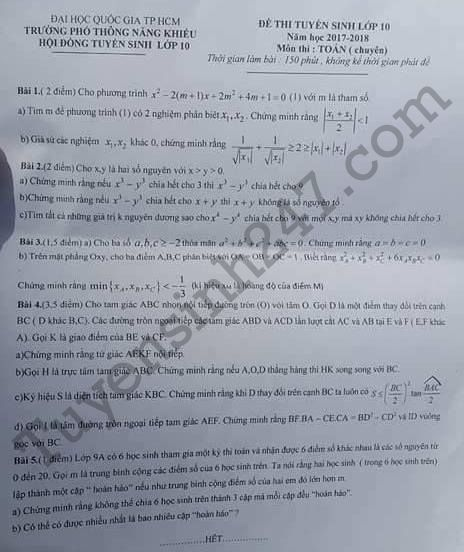đề thi vào lớp 10 môn Toán chuyên THPT Năng Khiếu DHQG HCM 2017