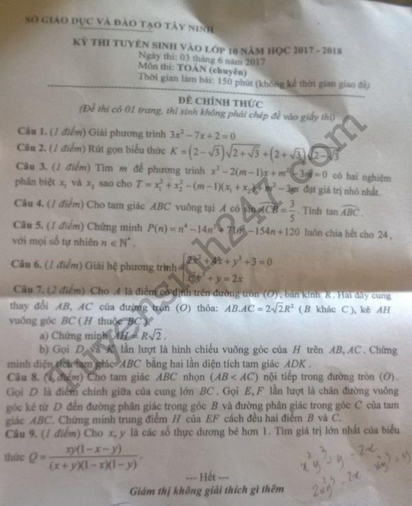 đề thi vào lớp 10 môn Toán chuyên tỉnh Tây Ninh năm 2017