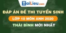 Đề thi tuyển sinh lớp 10 môn Anh 2020 tỉnh Thái Bình có lời giải