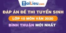 Đề thi tuyển sinh lớp 10 môn Văn 2020 tỉnh Bình Thuận có lời giải