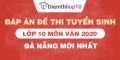 Đề thi tuyển sinh lớp 10 môn Văn 2020 tỉnh Đà Nẵng  có lời giải