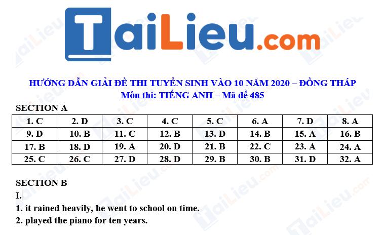 Đáp án đề thi tuyển sinh lớp 10 môn Anh 2020 tỉnh Đồng Tháp full