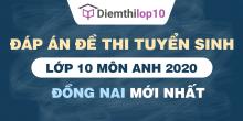 Đề thi tuyển sinh lớp 10 môn Anh 2020 tỉnh Đồng Nai có lời giải