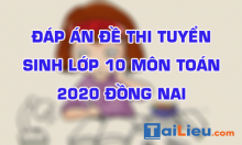 Đề thi tuyển sinh lớp 10 môn Toán 2020 tỉnh Đồng Nai  có lời giải