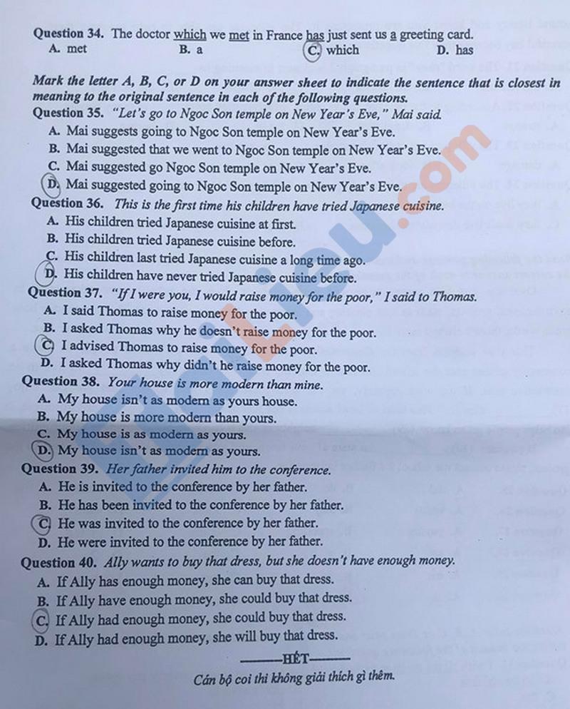 Đề thi môn Anh vào lớp 10 năm 2020 Hà Nội mã đề 004_4