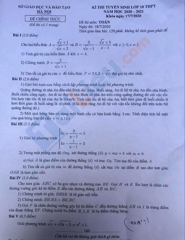 Đề toán thi cấp 3 Hà Nội 2020