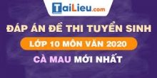 Đề thi tuyển sinh lớp 10 môn Văn 2020 tỉnh Cà Mau có lời giải