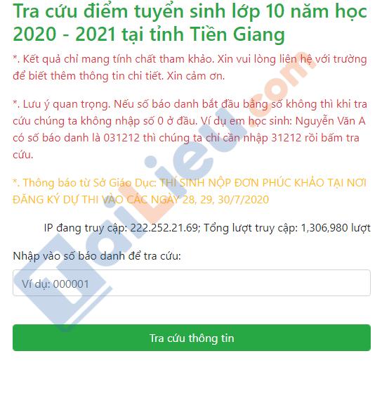 Tra cứu điểm thi tuyển sinh lớp 10 năm 2020 tỉnh Tiền Giang